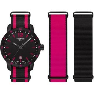 【TISSOT】QUICKSTER NATO 運動腕錶-黑x桃紅/40mm(T0954103705701)