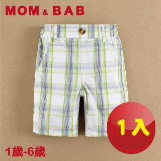 【MOM AND BAB】格紋五分純棉休閒襯衫褲-單件組(12M-6T)