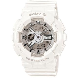 【CASIO 卡西歐】BABY-G 立體層次雙顯時尚運動腕錶(時尚白-46mm/BA-110-7A3)