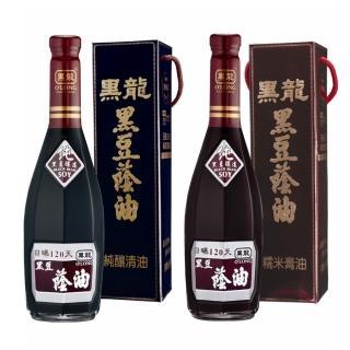 【黑龍】特級黑豆蔭油純釀清油+特級油膏料理組(600mlx6瓶/箱)