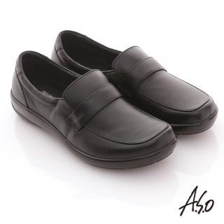 【A.S.O】學生鞋款 全真皮素面莫卡辛氣墊鞋(黑)