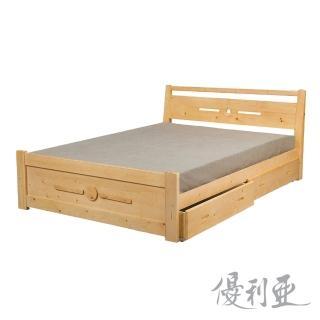 【優利亞-貝妮雲杉】雙人5尺抽屜床架(四分床板)