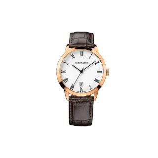 【AEROWATCH】羅馬雅仕經典時尚腕錶-玫瑰金框x咖啡/40mm(A42972RO01)