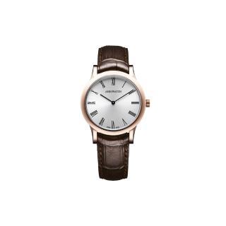 【AEROWATCH】羅馬城市經典時尚女錶-玫瑰金框x咖啡/33mm(A47950RO02)
