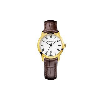 【AEROWATCH】羅馬佳人經典時尚女錶-金框x咖啡/29mm(A17973JA01)