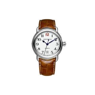 【AEROWATCH】AEROWATCH 復刻紳士時尚機械腕錶-白x棕/40mm(A60900AA15)