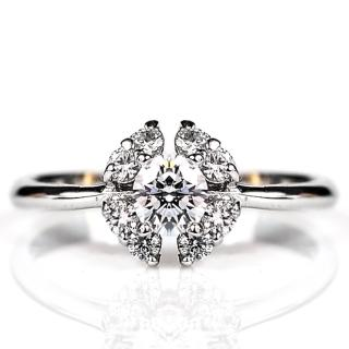 【ILG鑽】頂級八心八箭鑽石戒指-綻放愛戀款-RI004 主鑽50分 歐式四瓣小花(白K金色)
