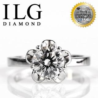 【ILG鑽】頂級八心八箭擬真鑽石戒指-莉絲安花朵款 RI046 主鑽約1克拉 美麗花型鑽戒(白K金色)
