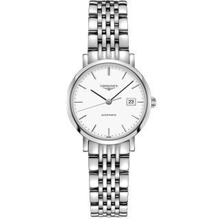 【LONGINES】Elegant 優雅系列機械女錶-白/28mm(L43104126)
