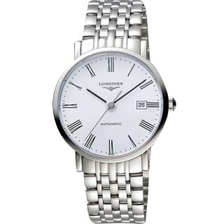 【LONGINES】Elegant 優雅系列羅馬機械腕錶-白/39mm(L49104116)
