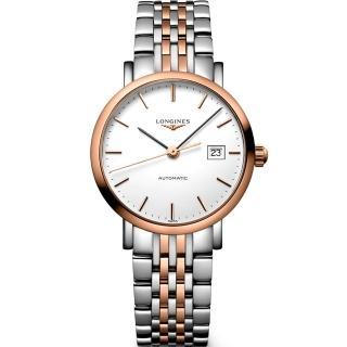 【LONGINES】Elegant 典雅機械女錶-白x雙色版/29mm(L43105127)