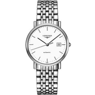 【LONGINES】Elegant Collection典雅機械腕錶-白/37mm(L48104126)
