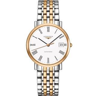 【LONGINES】Elegant 羅馬機械腕錶-白x雙色版/37mm(L48105117)