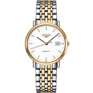 【LONGINES】Elegant 典雅機械腕錶-白x雙色版/37mm(L48105127)