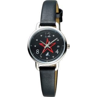 【agnes b.】藝術手繪星星時尚套錶-黑/26mm(VJ22-KR80D BH7011X1)