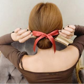 【梨花HaNA】甜心絲綢緞帶包包頭花苞丸子頭髮帶