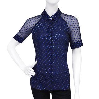 【GUCCI】圓點雪紡紗短袖上衣(藍色/38號)   GUCCI 古馳