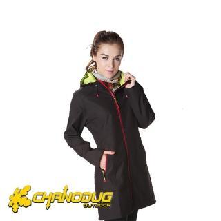 【CHANODUG】女款時尚長版防風保暖風衣(黑色)