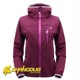【CHANODUG】女款時尚防風保暖風衣(紫紅色)