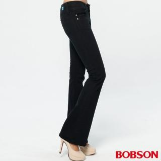 【BOBSON】釘珠伸縮中喇叭褲(黑色)