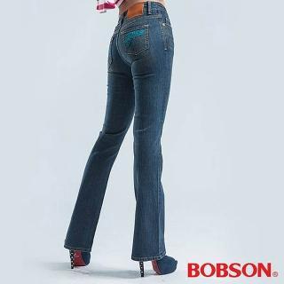 【BOBSON】低腰伸縮小喇叭褲(藍色)