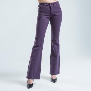 【BOBSON】貼袋薄布喇叭褲(紫色)