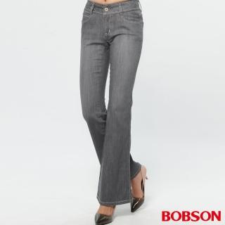 【BOBSON】薄布小喇叭褲(淺灰)