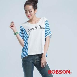 【BOBSON】印圖小連袖上衣(白色)