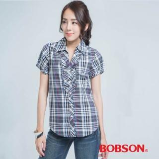 【BOBSON】格子長版襯衫(紫色)