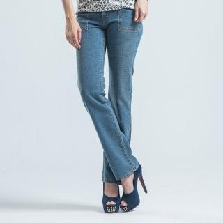 【BOBSON】超低腰粗結紗伸縮直筒褲(淺藍)
