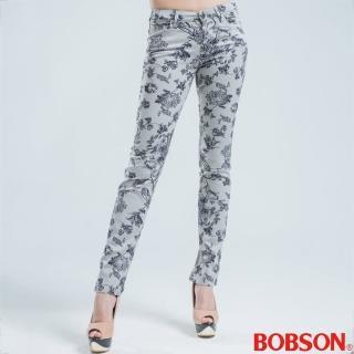 【BOBSON】印花彈性直筒褲(灰色)