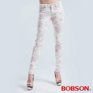 【BOBSON】印布花褲小直筒褲(粉色)