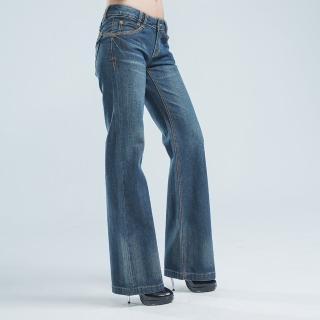 【BOBSON】寬管喇叭褲(藍色)