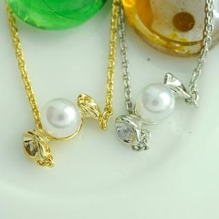 【Lady c.c.】韓國貝殼珍珠糖果小項鍊(2色-金)