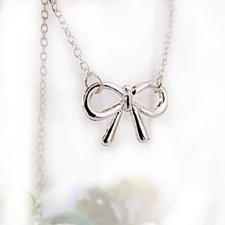 【Lady c.c.】韓國銀冰蝴蝶結簡緻小項鍊