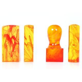 【橙印良品】開運琥珀公司大小章(1吋+6圓)