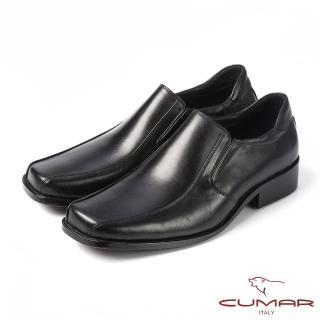 【CUMAR】CUMAR百搭首選 上班族真皮素面皮鞋(黑)