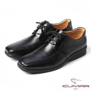 【CUMAR】CUMAR舒適真皮-經典綁帶休閒皮鞋(黑)