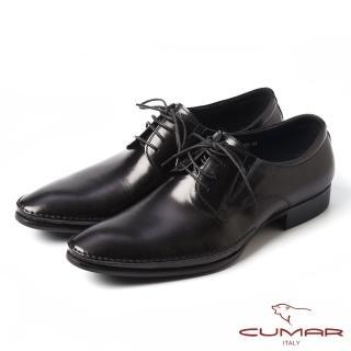 【CUMAR】CUMAR品味紳士-拼接壓紋真皮紳士鞋(黑)