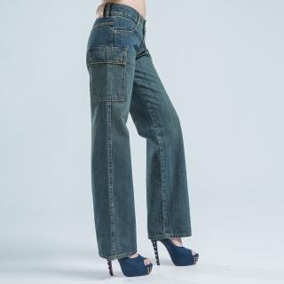 【BOBSON】超低腰?邊貼口袋褲(淺藍)