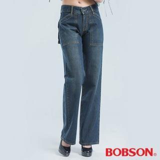 【BOBSON】前貼口袋刷白牛仔褲(藍色924-53)