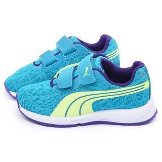 【PUMA】大童 輕量透氣慢跑運動鞋(187255-12-藍綠)