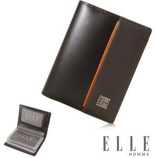 【ELLE HOMME】法式精品嚴選義大利頭層皮厚層透明名片夾(咖啡EL81959-45)