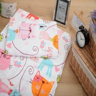 【Embrace英柏絲】幼稚園午睡組合包 5cm乳膠嬰兒床墊+枕頭 防蹣表布(貓咪花園-乳膠枕+床墊)