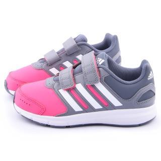 【Adidas】中大童 魔鬼氈運動跑鞋(B44017-灰粉)