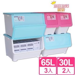 【聰明收納】樂彩 65L+30L直取收納箱實用五件組