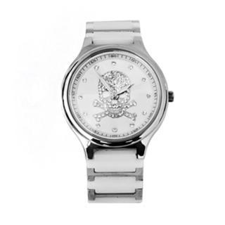 【Valentino范倫鐵諾】經典骷髏水鑽精密陶瓷不鏽鋼手錶腕錶