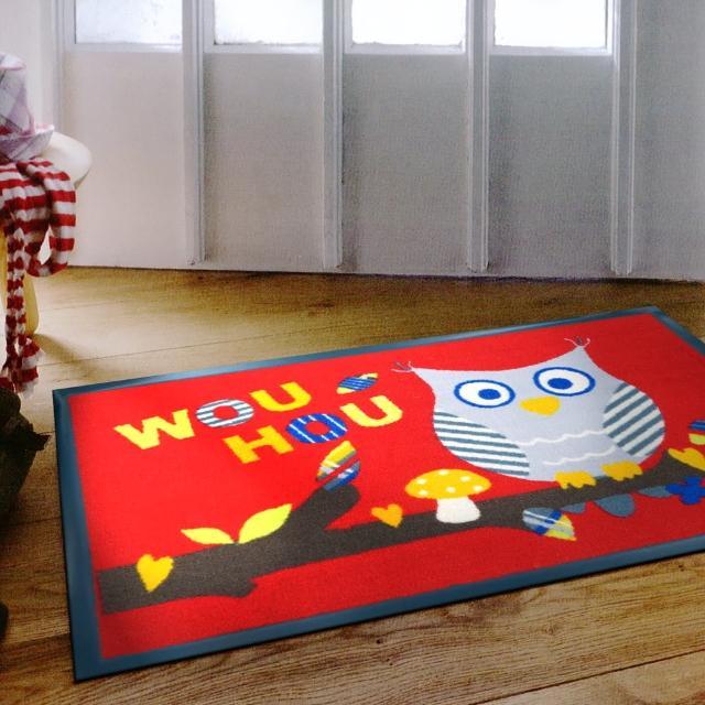 【范登伯格】貓頭鷹★PVC吸水刮泥地墊-紅(60x90cm)