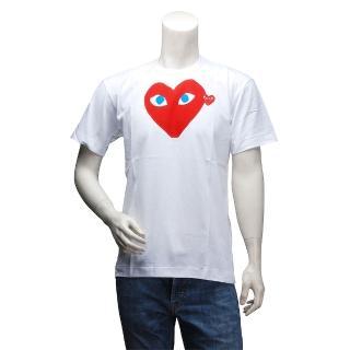【PLAY】經典川久保玲大愛心X小愛心刺繡圓領短袖T恤(男-白AZ-T086-051-1)