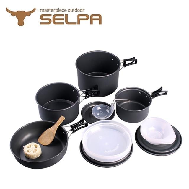 【韓國SELPA】戶外不沾鍋設計鋁合金鍋具家庭豪華組-旅行-露營-